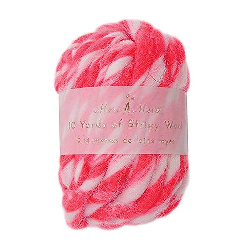 striped wool string // hot pink