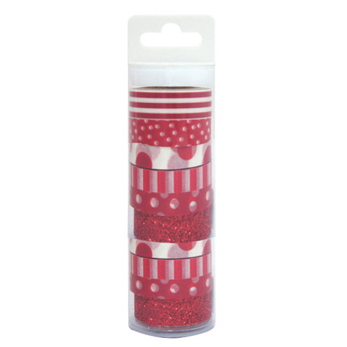 red patterned washi tape pack