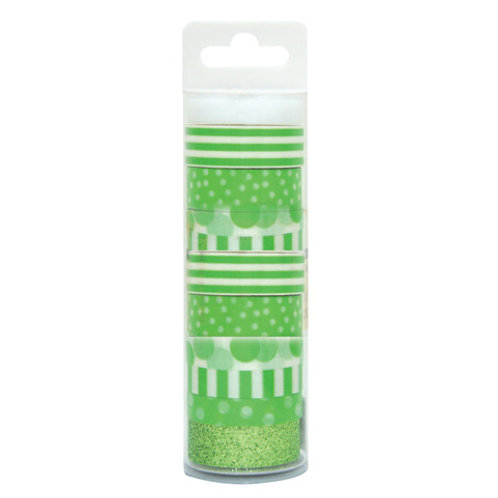 green patterned washi tape pack