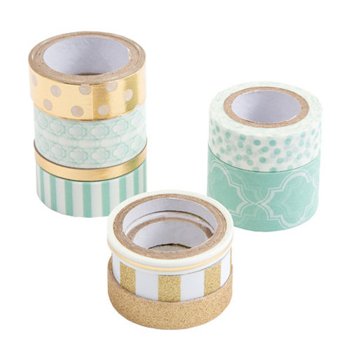 mint patterned washi tape pack