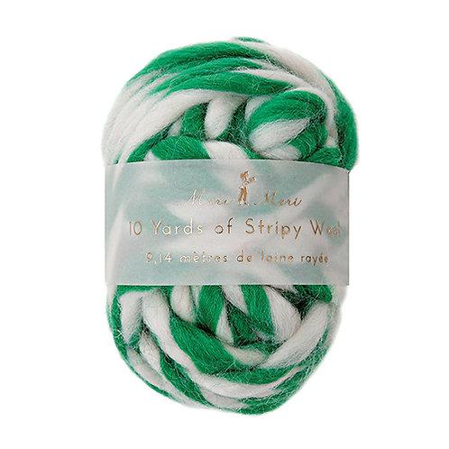 striped wool string // green