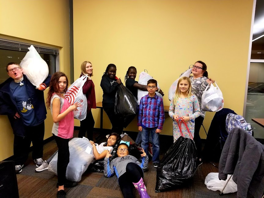Guided by Kids with all donations bagged ready to take to Gene Leahy Mall on Sunday!