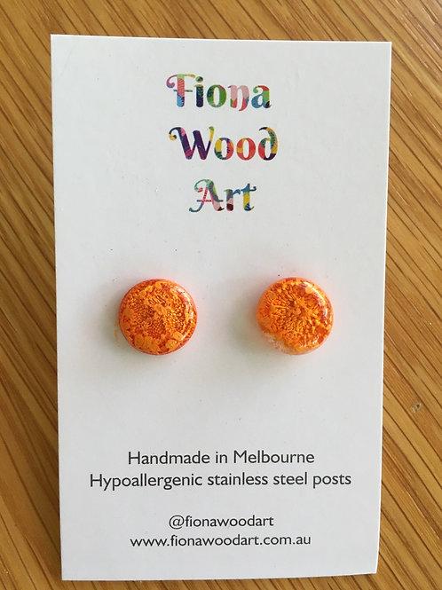 Orange resin and ink earrings