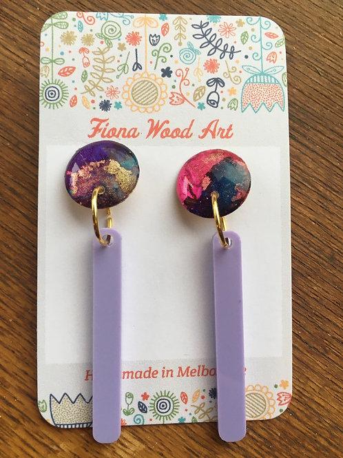 Ink, resin and acrylic earrings