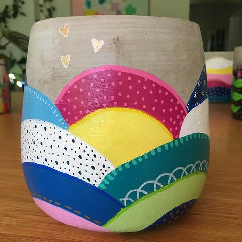 Hand painted concrete drum pot 16cm
