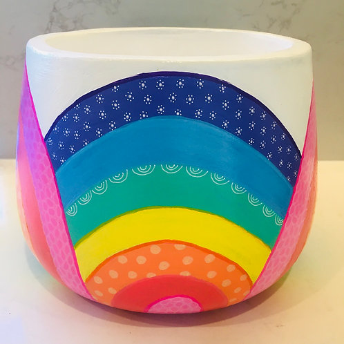 Rainbow Hand painted Drum pot