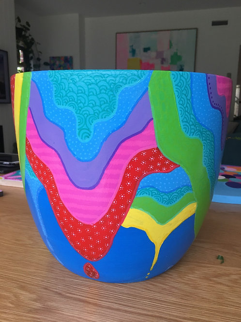 Large Rainbow Drip Pot
