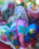Stuffed paper hearts by preschoolers....