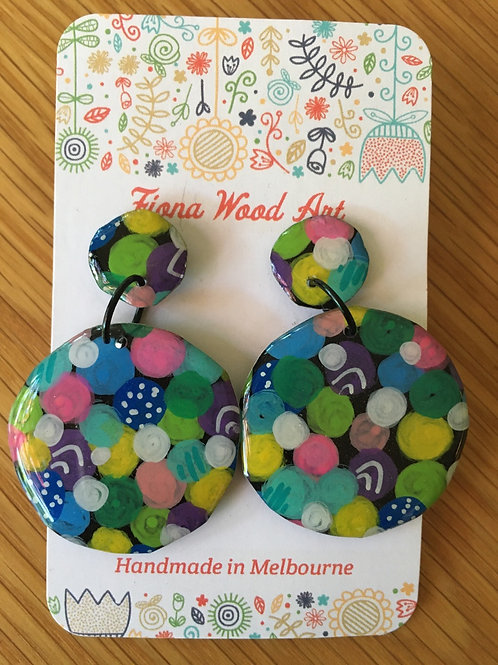 Hand painted earrings with resin