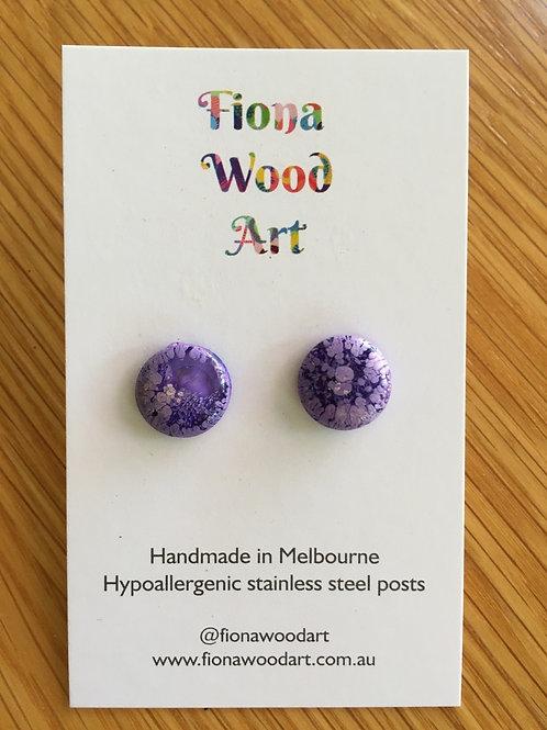 Purple resin stud earrings