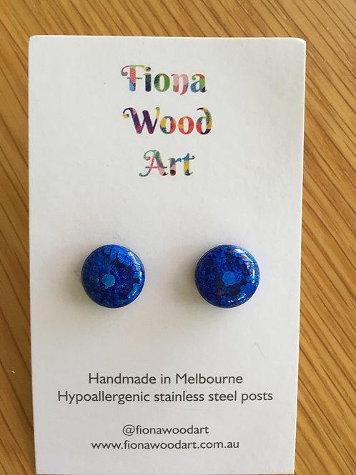 Blue resin stud earrings