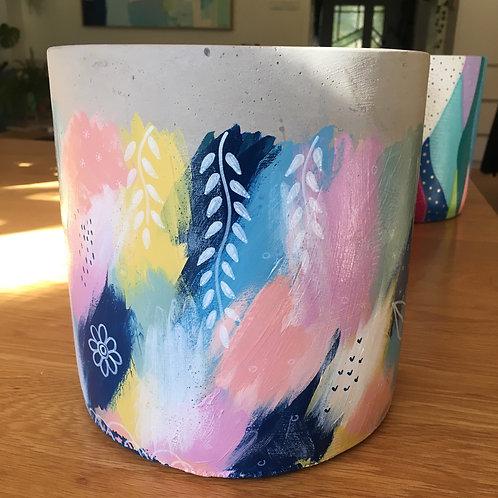 Hand painted concrete pot 20cm