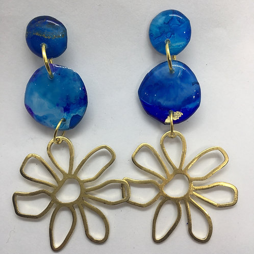 Inky flower earrings