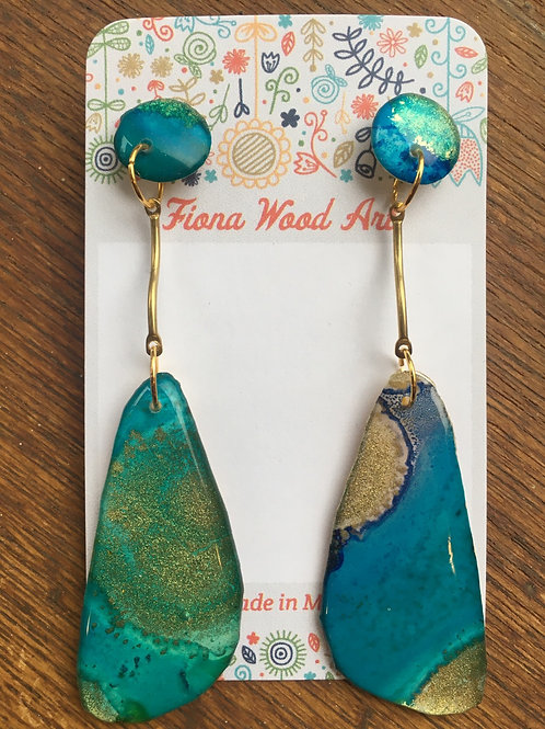 Ink and Resin Earrings