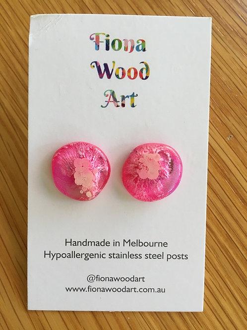 Pink Resin Mega stud earrings