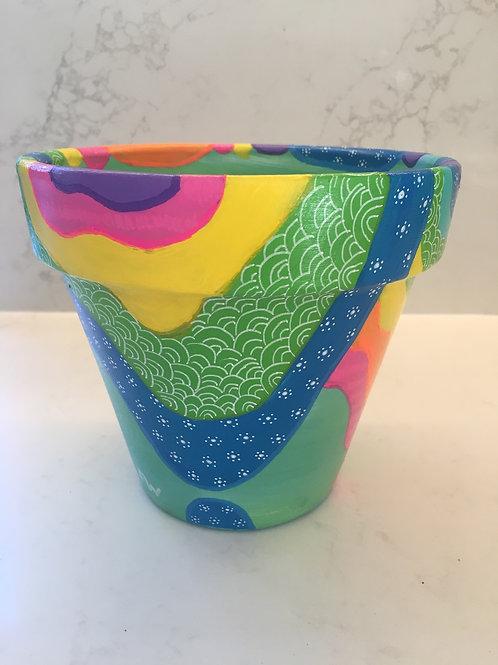 Mini hand painted terracotta pot