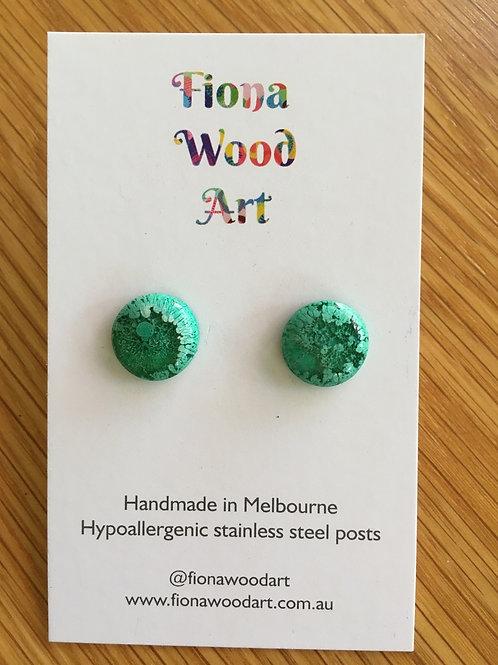 Green resin stud earrings