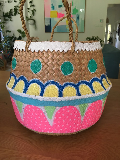 Hand painted wicker basket