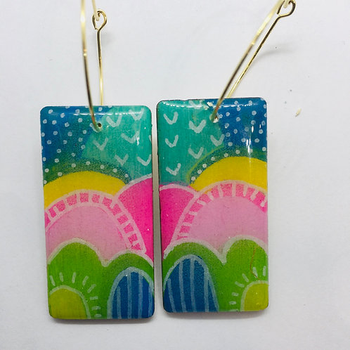Wood hand painted earrings