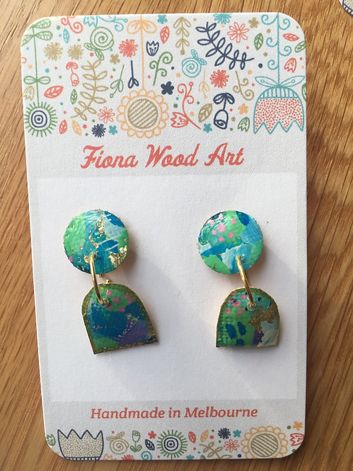Canvas and Resin Earrings