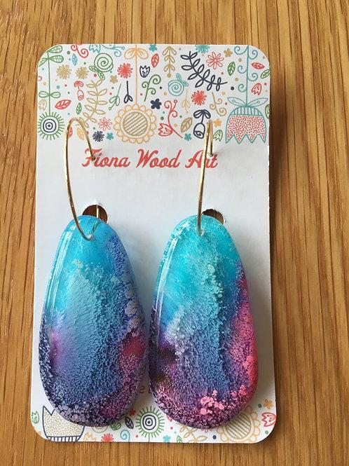 Ink and resin earrings