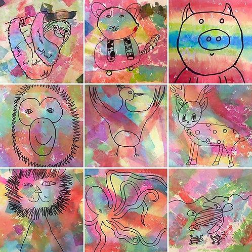 Rainbow Animals Art Kit