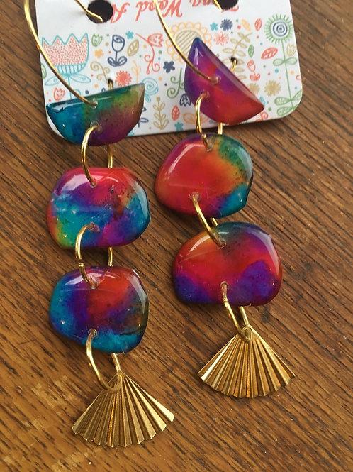 Reversible ink and resin earrings