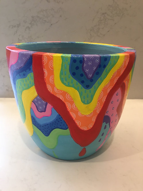 Rainbow drip egg pot
