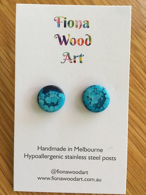 Blue resin stud earrings (matte)