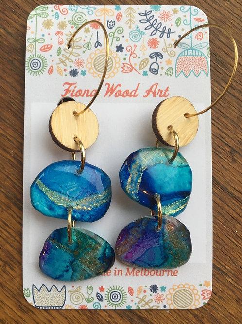 Wood and ink earrings