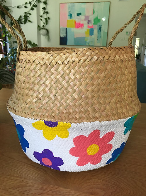 Hand painted wicker basket