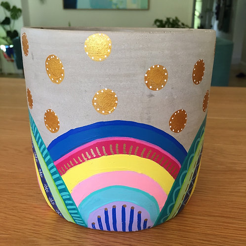 Hand painted concrete Cylinder Pot 16cm