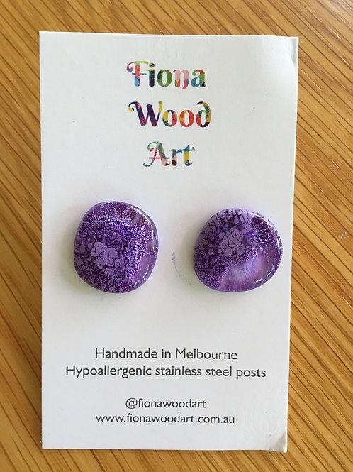 Purple resin mega stud earrings