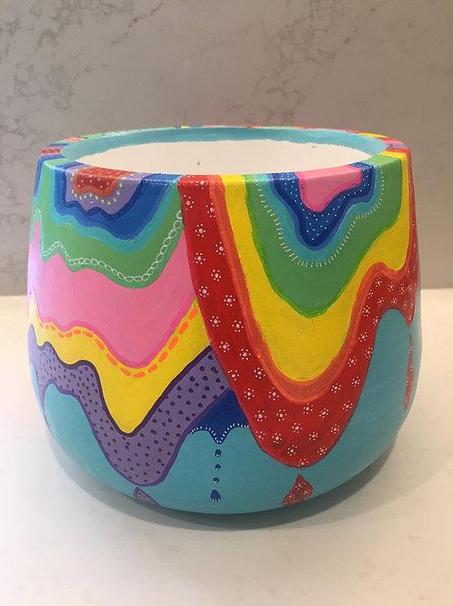 Rainbow drip drum pot