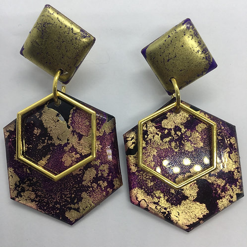 Ink and wood earrings