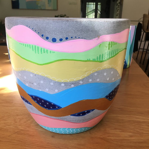 Large hand painted terracotta pot