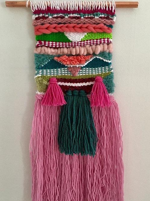 Handmade pink and green weaving