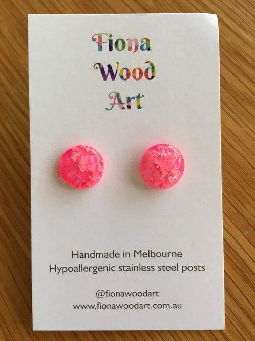 Pink resin stud earrings