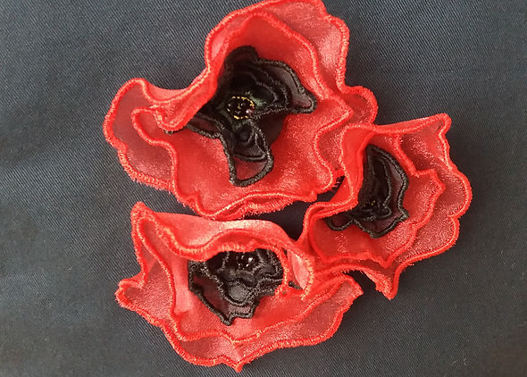 3D embroidered poppies on a coffee pot cozy