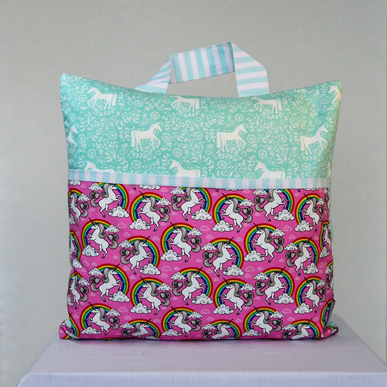 Child Book bag cushion cover - Unicorns pink