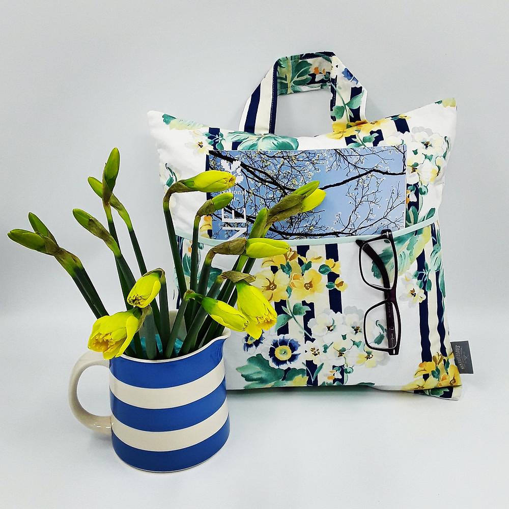 cushion vintage fabric auricula daffodils primrose
