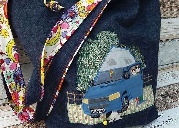 An eco jeans bag with an applique and embroidery VW T4 camper van