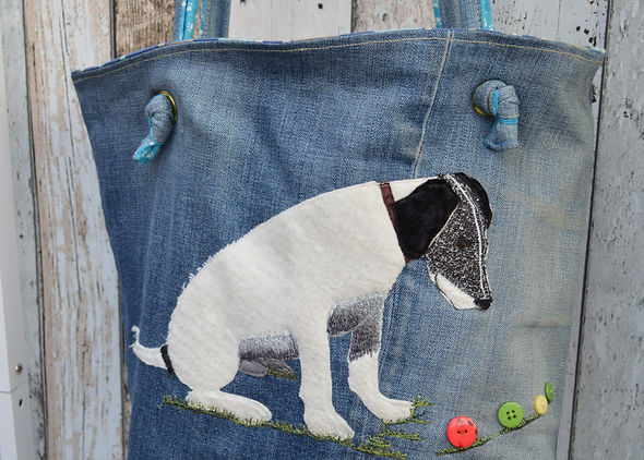 Eco bag made from jeans with applique and embroidered dog