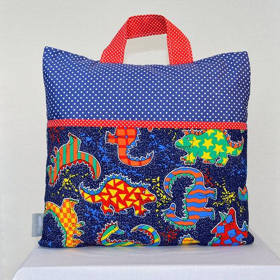 Child book bag cushion cover - Dinosaur blue