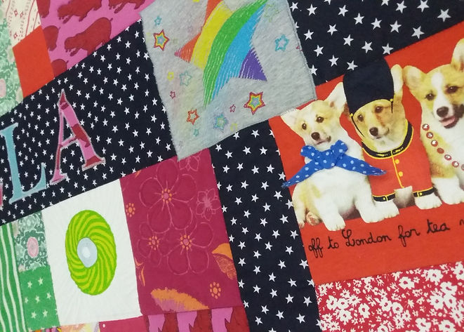 Memory quilt made using chidren's clothing