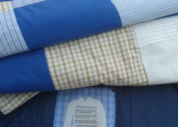 Customised memorial quilt made with shirts