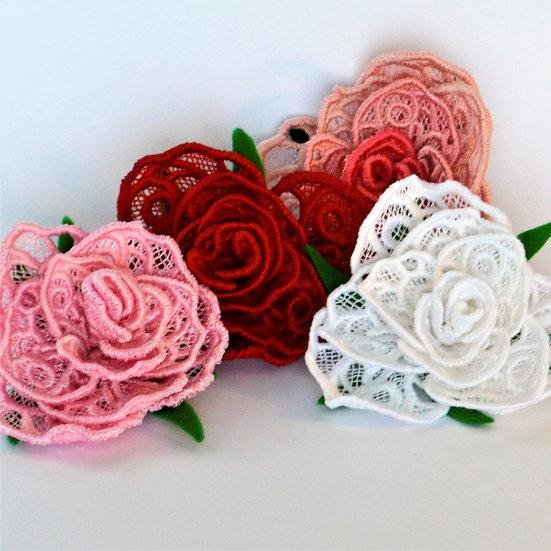 Handmade lace Rose brooch