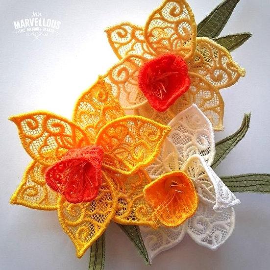 Handmade lace Daffodil brooch