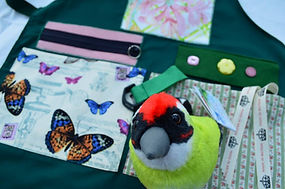 Dementia memory apron with musical song bird