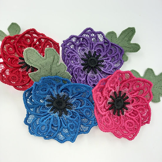 Handmade lace Anemone brooch